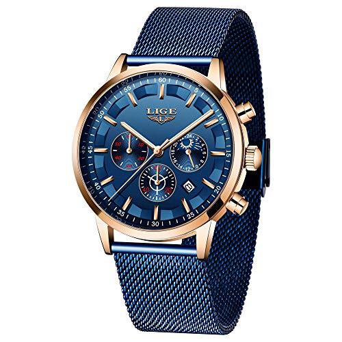 LIGE Uhren Herren Business Edelstahl Analog Quarz Uhr Multifunktions Chronograph Blau Armbanduhr Männer