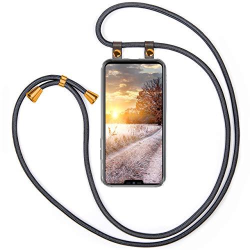 moex Handykette kompatibel mit LG G7 ThinQ / G7 Fit Hülle mit Band Längenverstellbar, Handyhülle zum Umhängen, Silikon Hülle Transparent mit Kordel Schnur abnehmbar in Anthrazit