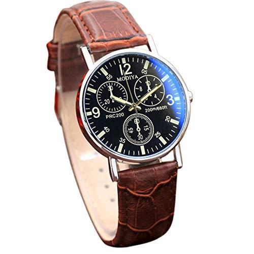 Reloj de pulsera de acero inoxidable para hombre, correa de reloj de pulsera de cuero redondo, reloj de cuarzo