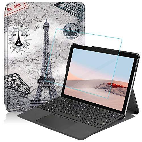 MI-KOU Funda para Microsoft Surface Go 2 2020 / Surface Go 2018 10',Funda Protectora ultradelgada de PU función de Soporte,Torre Eiffel +1x película Protectora de Vidrio Templado