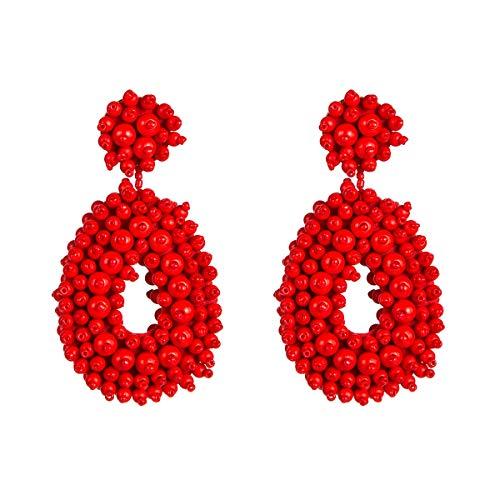 N/A Pendientes hipoalergénicos con forma de gota de arroz en forma de gota y franela, anillo de cuentas, pendientes de temperamento, joyería de tiro callejero con pendientes para mujer