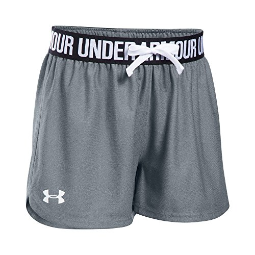 Under Armour Girls' Play Up Shorts, Steel /White, Youth Large