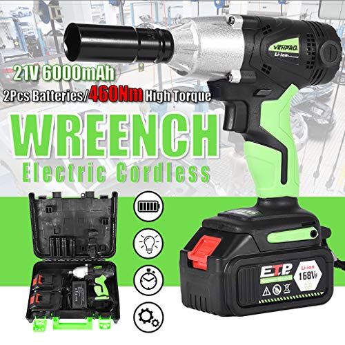 Celendi 1/2in Cordless Electric Impact Wrench G-un Drill Tool Fast Charge 2 x Battery