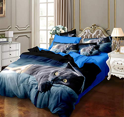 Febe 3D Bettwäsche Schwarze Katze Bettbezug 135x200 + 80x80 cm Doppelseitige Bettwäsche mit Verschluss