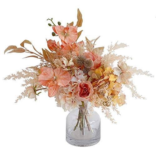 Artificial Flowers Bouquet Set - Artificial Flower Arrangements with Vase - Faux Realistic Bouquet for Wedding Decoration Home Table Centerpiece (Color : As Shown)