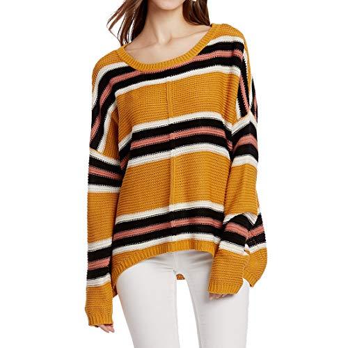 XWLY Sweater Damen Strickpullover Damen Eleganter Rundhalsausschnitt Einfarbige Mode...