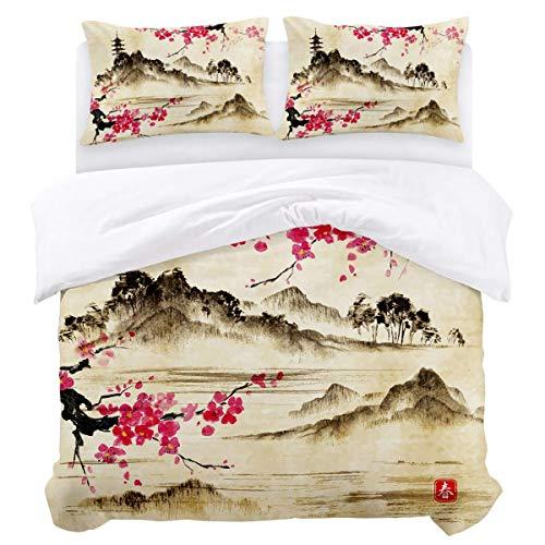 Juego de funda nórdica, edredón de microfibra ligero ultra suave de 3 piezas Quilt Funda para ropa de cama con cierre de cremallera, lazos - Spring Red Plum Blossom Easy Care Anti-Allergic Soft Smooth