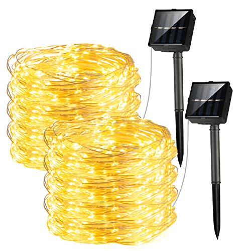 GIGALUMI 2 Pack Solar String Lights, 200 LED Solar Powered Fairy Lights with 8 Lighting Modes, Copper Wire Waterproof Decoration Lights for Garden,Yard, Patio, Wedding, Party Decoration (Warm White)