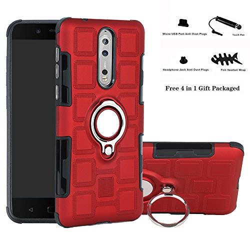 Labanema Nokia 8 Hülle, Ring Kickstand 360 Grad rotierenden Fingerring Grip Drop Schutz Stoßdämpfung Weichen TPU Cover für Nokia 8 - Rot
