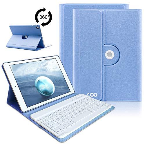 iPad Tastatur-Hülle für iPad 2018(6. Generation), iPad 2017(5.Generation), iPad Pro 9.7, iPad Air& Air 2-360 Grad Drehung, Abnehmbare Leise Tastatur - Ultra Slim Case -QWERTZ Layout (Himmelblau)