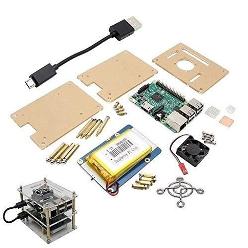GENFALIN 5 in 1 Raspberry Pi 3 Modell B + V35 Acryl Box + Lithium-Batterie Platte + Kühlkörper Kit + Pi Fan Holz Rasur Werkzeuge