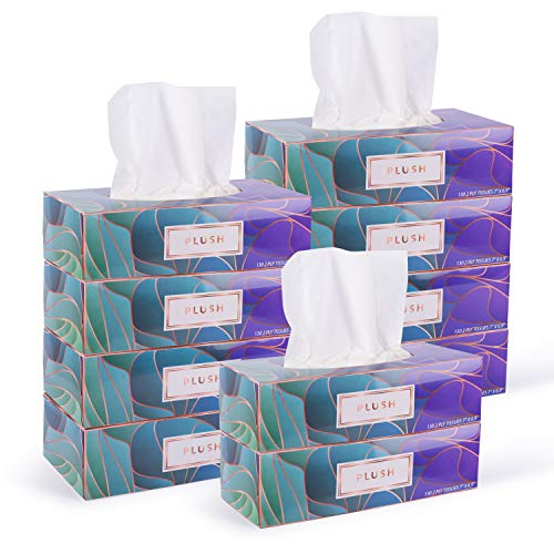 Plush Facial Tissues 130 Per Box Size 7quot X 69quot 2 PlySoft Smooth Great for Bathroom Office Store SchoolHome Kitchen Or in Your Car amp in Every Room Family pack Pack of 10 1300 Tissues total