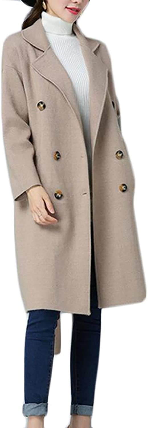 Fulok Women's Winter DoubleBreasted Trenchcoat Wool Blend Peacoat Coat