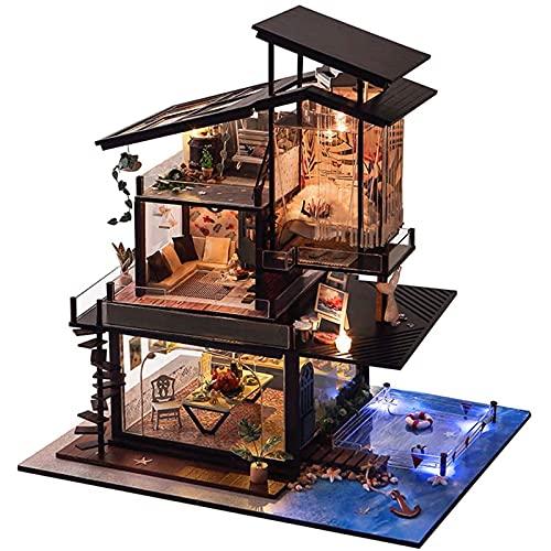 PPQQBB Kit de casa de muñecas DIY en Miniatura con Accesorios de Muebles Regalo Creativo para Amantes y Amigos (Costa de Valencia) con Cubierta a Prueba de Polvo y movimien