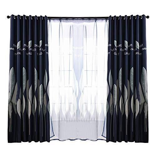 Camidy Schiere Fenstervorhang Schlafzimmer Balkon Drapieren Blätter Druckvorhang Garn Vorhang 39. 37 * 98. 43 Zoll (Marineblau)