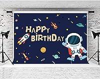 写真撮影のためのHD宇宙飛行士ロケットの背景10x7ftソフトコットン子供ベビーシャワーお誕生日おめでとうパーティーの装飾用品写真撮影の小道具LHFS1351