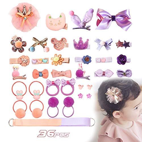 ALTINOVO 36Pcs Accessoires De Cheveux Enfants Set, Pinces À Cheveux Mignonne Épingles À Cheveux Fleur Bow Cheveux Accessoires Cérémonie Photographie