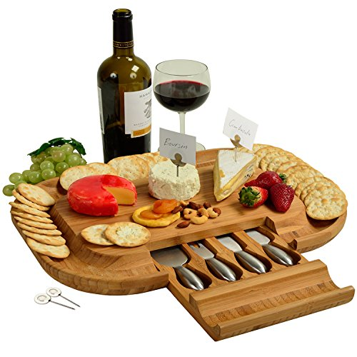 Picnic at Ascot Bamboo Cutting Board for Cheese & Charcuterie with Knife Set & Cheese Markers- Designed & Quality Checked in the USA