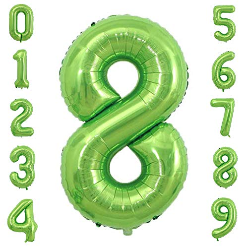 Tellpet Big Number 8 Balloon, Green Number Balloons for 8th Borthday Party Decorations Boy Girl Kids, 40 Inch