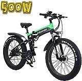 Bicicleta eléctrica de nieve, Bicicleta eléctrica plegable, de 26 pulgadas 4.0 Fat Tire motos de nieve, 48V500W suave cola de la bicicleta, 13Ah Batería de litio for una larga vida de 100 kilometros,