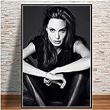 yitiantulong Impresiones Cartel Angelina Jolie Brigitte Modelo Estrella Acrtess Impresión De Arte Lienzo Pintura Al Óleo Cuadros De Pared Sala De Estar Decoración del Hogar A-1308 (40X50Cm) Sin Marco