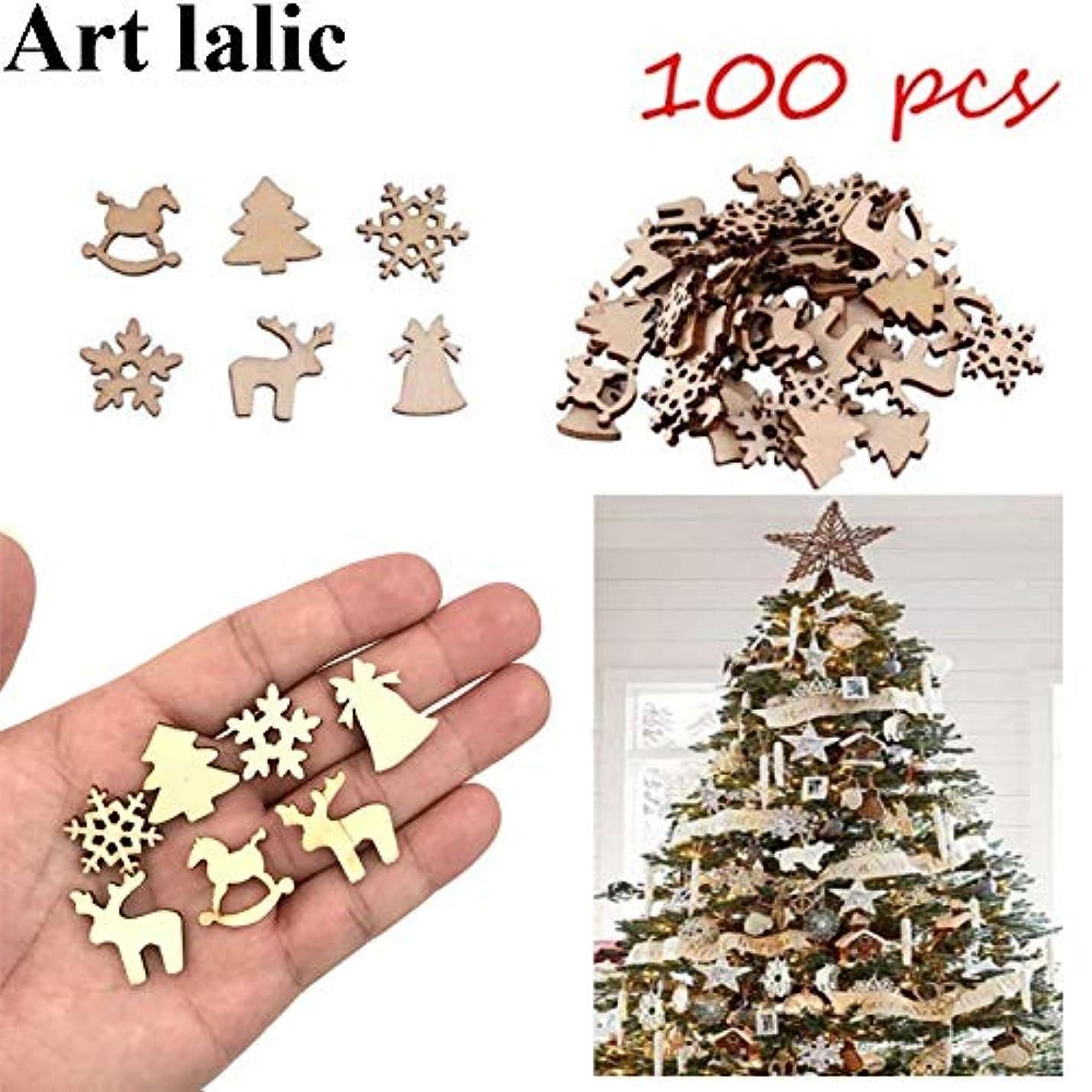 偶然怪しい危険を冒します100ピースクリスマステーマ木製ペンダントクリスマスツリーオーナメントパーティーデコレーションホームデコレーション手作りアクセサリー雪片鹿ツリーベル