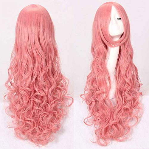 GLXQIJ Sexy Lady Fashion Lose Lange Volle Perücke Mit Pony-Frisur Für Abendkleid-Partei Cosplay, Synthetic, Curly, Big Wellig, Hitzebeständige,LightPink