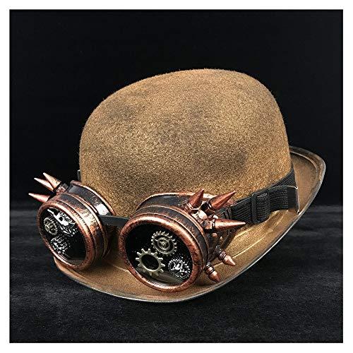 M.D.Y. Gorra Moda Mujer Hombre Unisex Steampunk Bowler Hat Gafas Topper Sombreros Fedora Billycock Novio Jazz Hat Sombrero (Color : Oro JD, tamaño : 57-58cm)