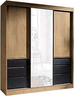 FurnitureByJDM - Moderne, Compact - Armoire à Portes coulissantes avec Miroir - Haiti - L:180cm - H:216cm - P:65cm - (Lefk...