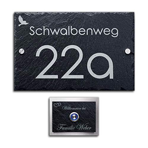 Schiefer Set Hausnummer + Klingel mit Gravur Türklingel inkl. LED Taster