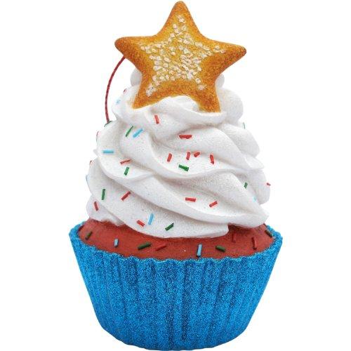 Jillson Roberts Cupcake de Noël Ornement, Blanc étoiles Paillettes