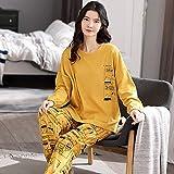 Pijama Mujer PrimaveraConjuntos De Pijamas De Manga Larga con Pantalones Largos, Pijamas De Cuadros Amarillos De Algodón para Mujer, Ropa De Estar, Traje De Casa, Pijamas Sueltos