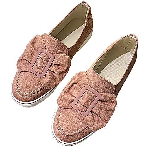Shhyy Zapatillas Deporte para Mujer Bowknot Moda Lona para Mujer Zapatos Bajos Casuales para Caminar Zapatillas De Enfermería Transpirables Zapatos Casuales,Rosado,7