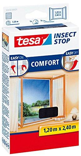tesa Insect Stop COMFORT Fliegengitter für bodentiefe Fenster / Insektenschutz mit selbstklebendem Klettband in Anthrazit / 120 cm x 240 cm (2er Pack)