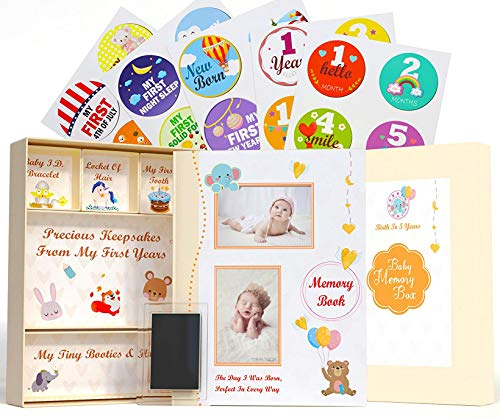 5-in-1 First Five Years Baby Memory Book with Keepsake Box, 30 Monthly Baby Milestone Stickers, Hand/Footprint Kit and Baby Album Pages. Gender Neutral Baby Milestone Book (and Same Gender Parents)
