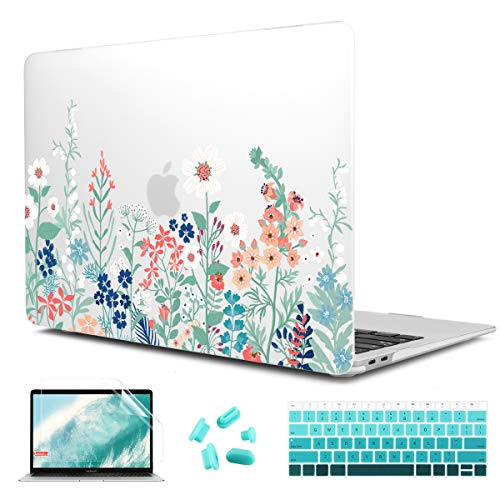 macbook covers CiSoo Matte Frosted Hard Cover for New MacBook Air 13 Inch Case 2020 2019 2018 Release Model A2337 M1 A2179 A1932, Plastic Flower Pattern Hard Case with Keyboard Cover and Screen Protector