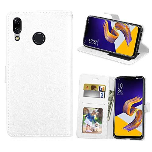 Asus Zenfone 5 2018 Hülle, SATURCASE Glatt PU Lederhülle Magnetverschluss Brieftasche Standfunktion Handy Tasche Schutzhülle Handyhülle Hülle für Asus Zenfone 5 ZE620KL/Zenfone 5z ZS620KL (Weiß)