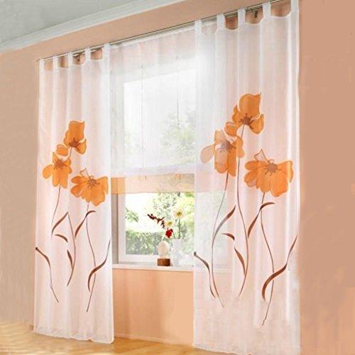 SIMPVALE 2 stücks Gardinenschal Gardine Print Blumen Vorhang für Wohnzimmer Schlafzimmer Schlaufenschal Breit 150cm (Hoehe 225cm, Orange)