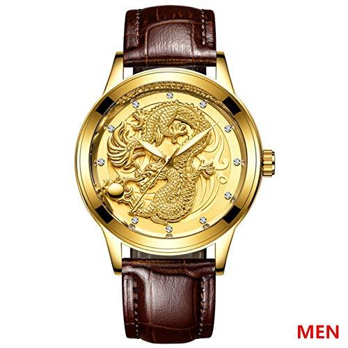 Hongxiguan kwartshorloge mannen pols retro horloges mannen waterdicht goud volledig stalen horloge cadeau