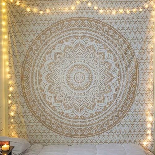 Mandala Wandtuch Sonne und Mond Psychedelische Wandteppich Schwarz und Weiß Wandbehang Wandteppich Mandala Tuch Home Decor Tapestry (Mandala Weißgold, 150cmx200cm)