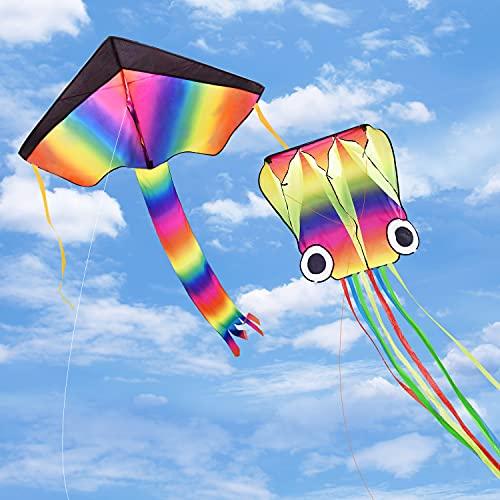 Funyole Cometas 2 Pack, Cometa de Pulpo Grande de 4M y Cometa Delta Arcoíris con Cola Larga y Colorida para Niños y Adultos, Juegos al Aire Libre, Actividades, Viaje a La Playa, Vuelo Fácil