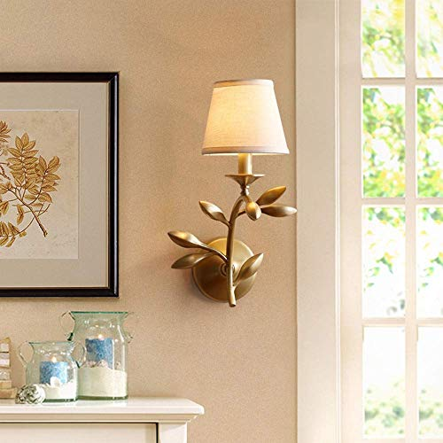 Led Golden Branch Jade Leaf Lámpara de Pared de Cobre Completo/Lámpara de Pared de Pintura Decorativa para Sala de Estar/Lámpara de Pared de Dormitorio de cabecera Simple (Tamaño: M)