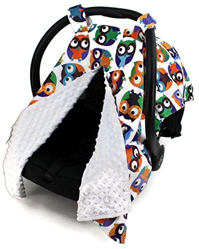 Dear Baby Gear Deluxe Car Seat Canopy, Owls, Multi Color / White Minky Dot