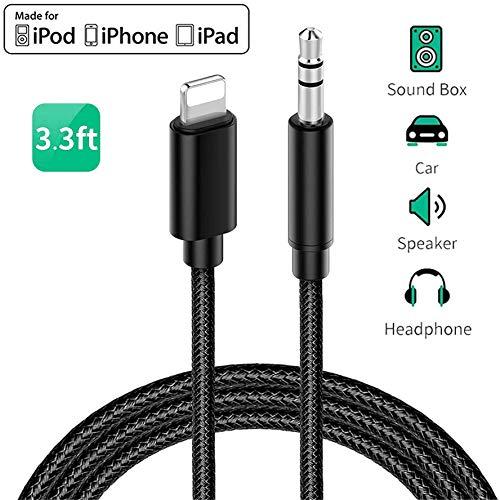 Auto-Aux-Kabel für iPhone, Audio-Kabel Aux-Kabel für 3,5 mm Premium-Audio für iPhone 11/11 Pro/ 11 Pro Max, 7/7 Plus, 8/8 Plus/X/XS/XS Max/XR, iPad, Autoradios, Lautsprecher, Kopfhörer-schwarz