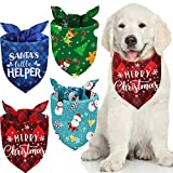 Weewooday 4 Pieces Christmas Dog Bandanas Adjustable Pet Bandanas Washable Dog Bib Snowman Snowflake Pet Kerchief Triangle Dog Scarf for Christmas Pets Dogs Cats Costume Supply (Assorted Patterns)