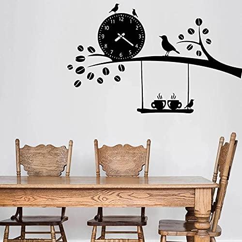 Etiqueta de la Pared de la Cocina Comedor Calcomanía de Vinilo Reloj de café Decoración de pájaros Vida Creativa Extraíble
