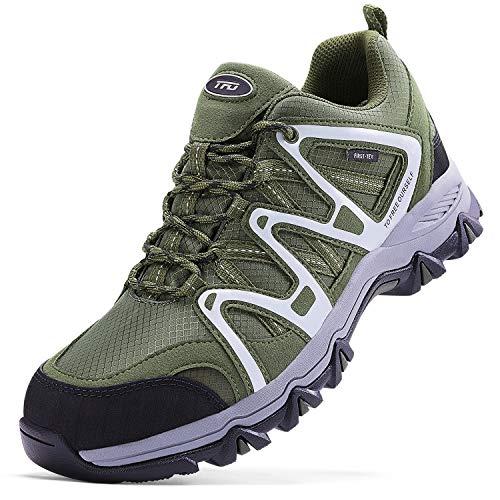 TFO Escursionismo Scarpe da Outdoor da Uomo Impermeabili Low Rise Scarpe da con Antiscivolo e Leggere, Verde, 44.5