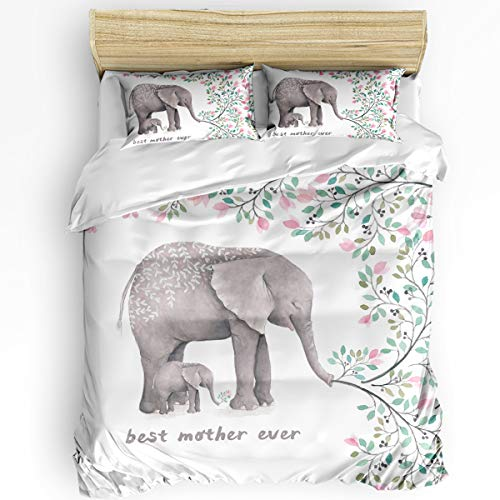 3 Piece Bedding Set Comforter Cover Queen Size, Elephant Best Mother Ever and Flowers 3 pcs Duvet Cover Set with Zipper Closure for Childrens/Kids/Teens/Adults