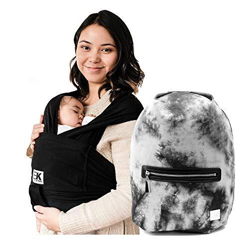Baby K'tan Original Baby Wrap Carrier Black, Medium and Diaper Bag Sojourn, Tie Dye Black