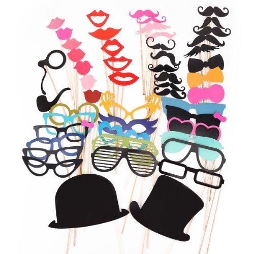 51pcs moustache lèvre lunettes loup masque avec bâton pour Masquerade